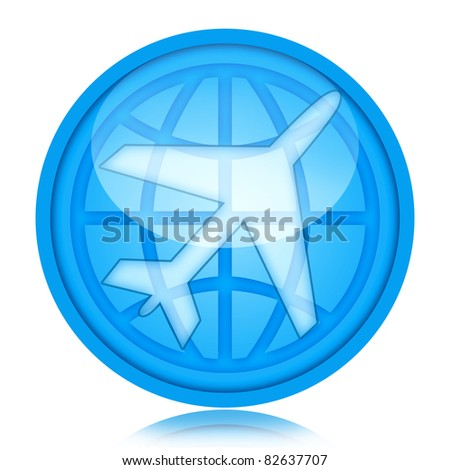 Aircraft icon with airplane and globe inside glass sphere isolated over white background - stock photo
