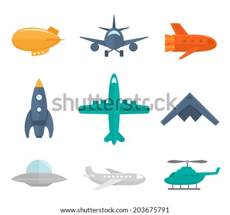 Aircraft icons flat set of zeppelin aircraft war fighter isolated  illustration - stock photo