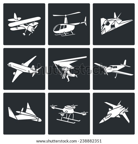 Aircraft Icons Set - stock photo