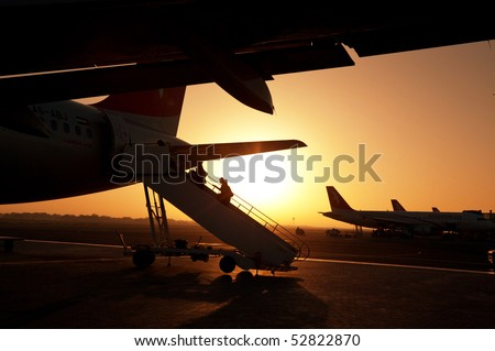 Aircraft in  airport - stock photo