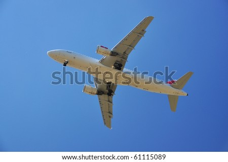 Aircraft in the blue sky - stock photo