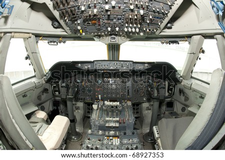 aircraft instrument and control panel - stock photo