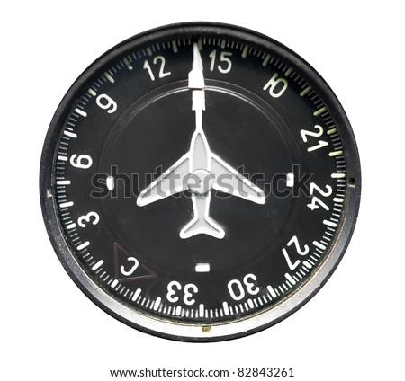 Aircraft instrument. Directional gyro, heading indicator isolated on white. - stock photo
