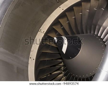 Aircraft intake closeup details side view - stock photo