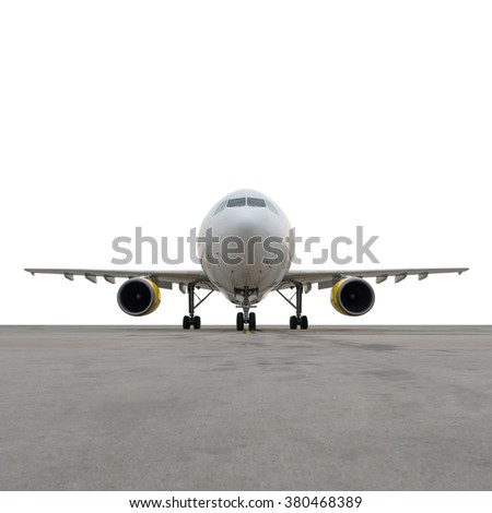 Aircraft isolated on white background with path - stock photo