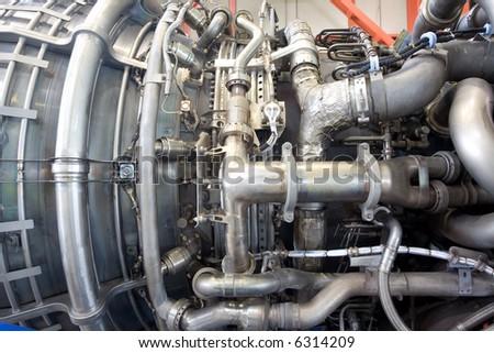 Aircraft jet engine detail - stock photo
