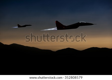 Aircraft on a mission. Counter-terrorism. - stock photo