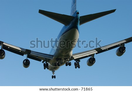 Aircraft on final approach - stock photo