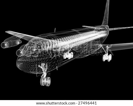 Aircraft on runway. Airplane landing, isolated on black. 3d illustration. - stock photo