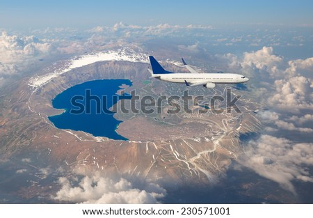 aircraft over the lake - stock photo