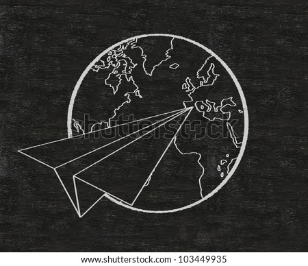 aircraft paper and world written on blackboard background, high resolution, easy to use. - stock photo