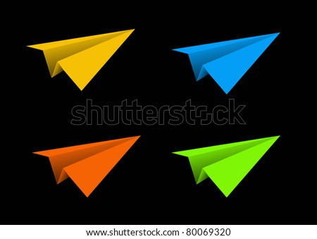 Aircraft paper colorful isolated blue green yellow orange - stock photo