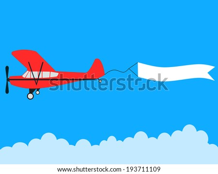 aircraft pulling advertisement banner - stock photo