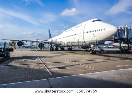 Aircraft ready for boarding - stock photo