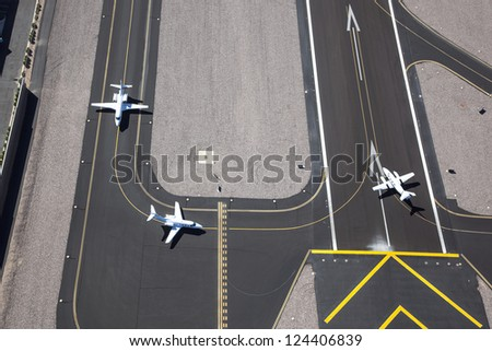 Aircraft ready for take off as viewed from above - stock photo