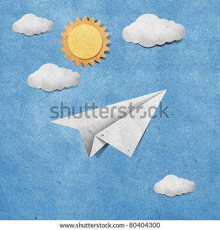 aircraft  recycled paper on grunge blue sky paper background - stock photo
