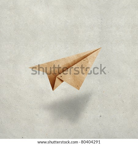 aircraft  recycled paper on grunge  paper background - stock photo