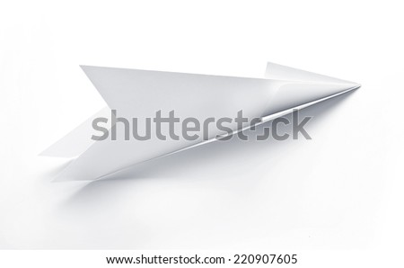 Aircraft rocket paper hand made on white background