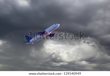 Aircraft take off during stormy weather conditions. - stock photo