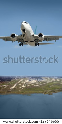 Aircraft taking off from Vancouver International Airport (YVR) - stock photo
