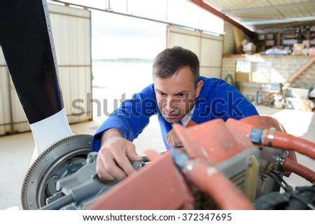 aircraft technician - stock photo