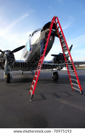 Aircraft technicians. - stock photo
