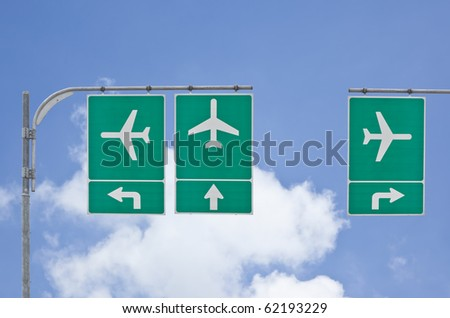 aircraft traffic sign on blue sky - stock photo