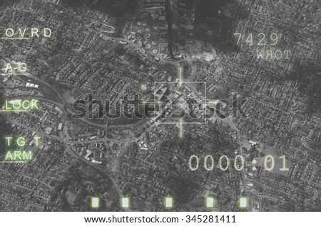 Aircraft weapon computer, target locked, ready to fire. Concept about war and terrorism - stock photo