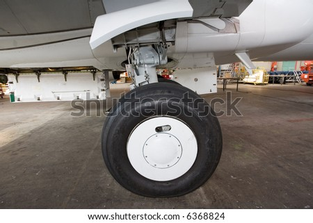 aircraft wheel - stock photo