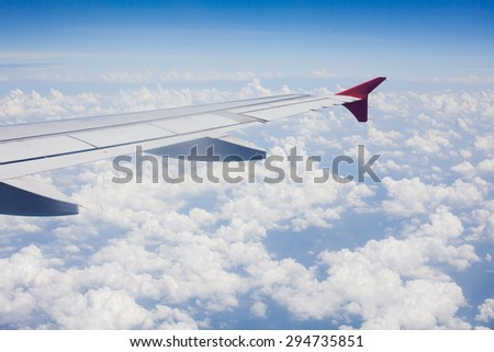Aircraft wing on the clouds,flying background
