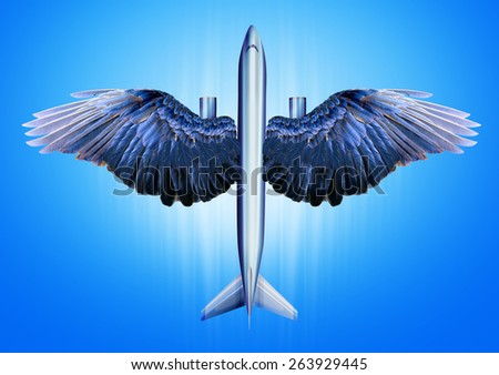 Aircraft with bird wings. Creative concept idea  - stock photo