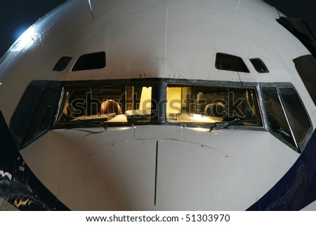 aircraft with night lighting - stock photo