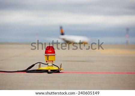 Airfield - marking on taxiway is heading to runway - stock photo