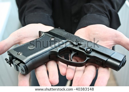 Airgun on hands - stock photo