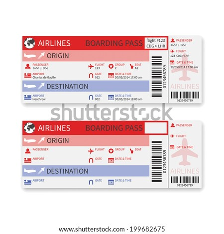 Airline boarding pass ticket isolated on white background. Rasterized version. - stock photo