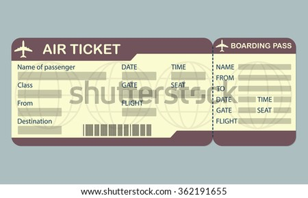 Airline boarding pass ticket template. Detailed blank of airplane ticket. - stock photo