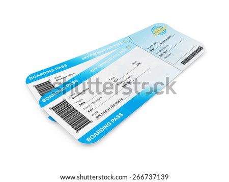 Airline Boarding Pass Tickets isolated on white background. Tickets of My Own Design - stock photo