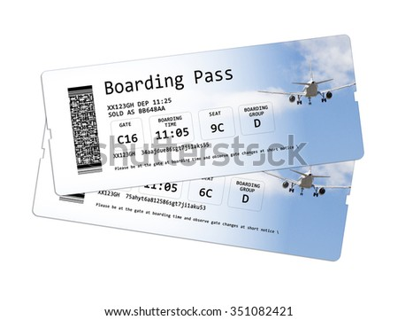 Airline boarding pass tickets isolated on white.  The image is totally invented and does not contain under copyright parts. The background images are my property. - stock photo
