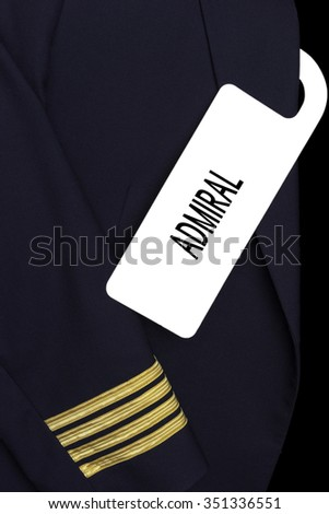 Airline Captain uniform with a tag.  ADMIRAL