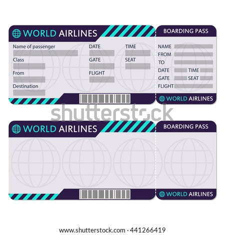 Airline plane ticket boarding pass blank stock vector for Boarding pass sleeve template