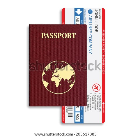 Airline passenger and baggage ( boarding pass ) tickets with barcode and international passport. Rasterized version. - stock photo