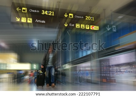 Airline Passenger at the Airport - stock photo