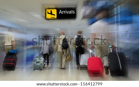 Airline passengers in the airport - stock photo