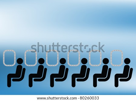 Airline passengers seated on a plane against blue sky - stock photo