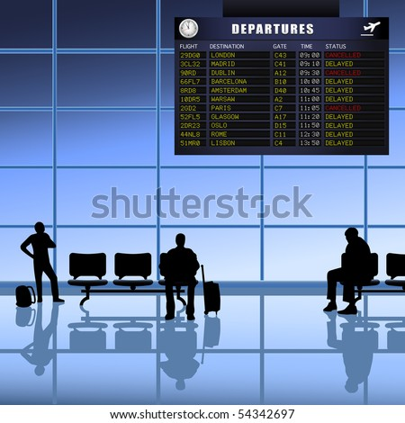 Airline passengers with luggage waiting for delayed flights to depart. A vector illustration version of this image is also available in my portfolio. - stock photo