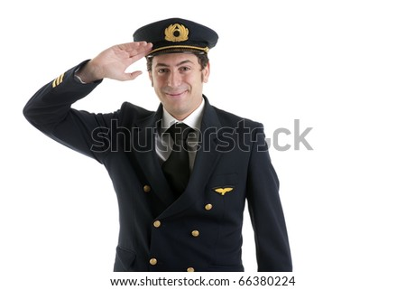 Airline Pilot/Captain Saluting - stock photo