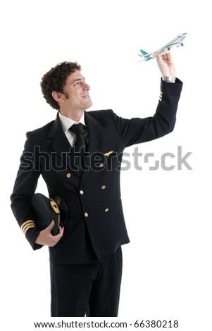 Airline Pilot/Captain with airplane model - stock photo