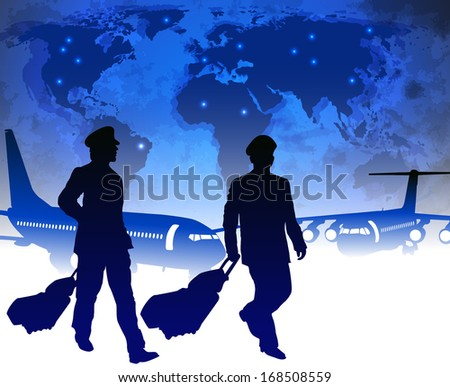 Airline pilots with luggage in airport. Raster version  - stock photo