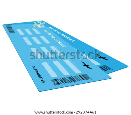 Airline Ticket Isolated on white background. Illustration.  - stock photo