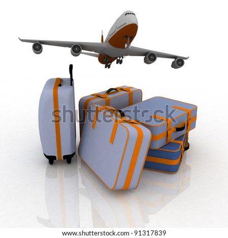 airliner and suitcases on white background - stock photo